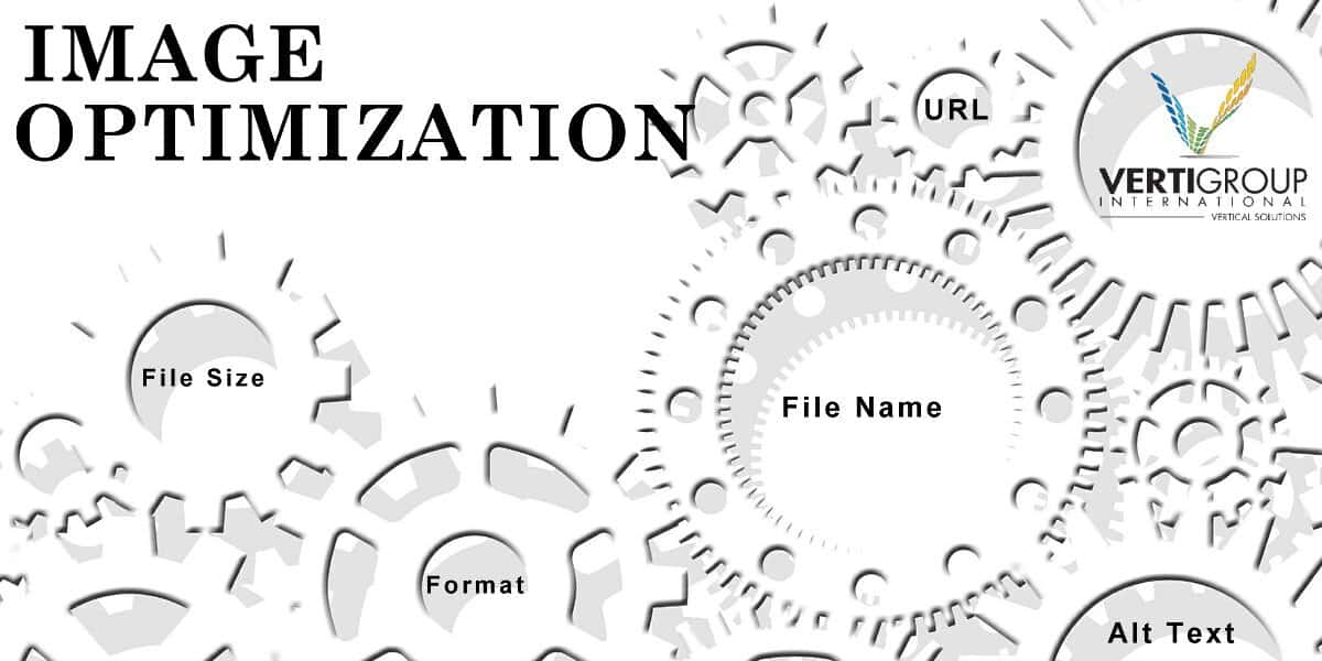 white gears linked together with some gears displaying image optimization elements. i.e. file name, alt text, file size and other.